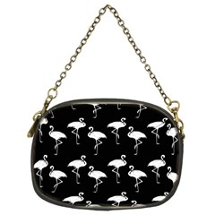 Flamingo Pattern White On Black  Chain Purse (two Sided)