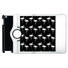 Flamingo Pattern White On Black  Apple Ipad 2 Flip 360 Case