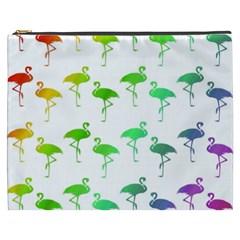 Flamingo Pattern Rainbow  Cosmetic Bag (xxxl)