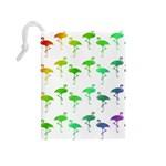 Flamingo Pattern Rainbow  Drawstring Pouch (Medium) Back