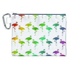 Flamingo Pattern Rainbow  Canvas Cosmetic Bag (XXL)