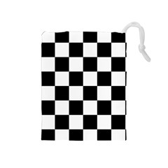 Checkered Flag Race Winner Mosaic Tile Pattern Drawstring Pouch (Medium)