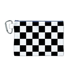 Checkered Flag Race Winner Mosaic Tile Pattern Canvas Cosmetic Bag (Medium)