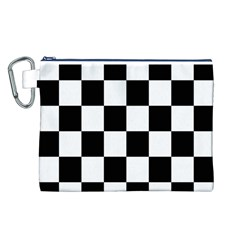 Checkered Flag Race Winner Mosaic Tile Pattern Canvas Cosmetic Bag (Large)