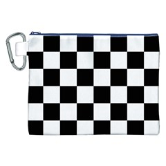 Checkered Flag Race Winner Mosaic Tile Pattern Canvas Cosmetic Bag (XXL)