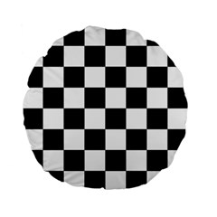 Checkered Flag Race Winner Mosaic Tile Pattern 15  Premium Flano Round Cushion