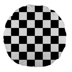 Checkered Flag Race Winner Mosaic Tile Pattern 18  Premium Flano Round Cushion