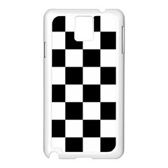 Checkered Flag Race Winner Mosaic Tile Pattern Samsung Galaxy Note 3 N9005 Case (White)