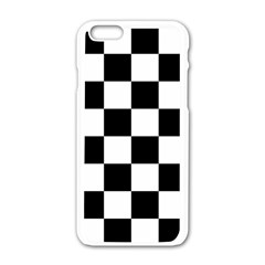 Checkered Flag Race Winner Mosaic Tile Pattern Apple Iphone 6 White Enamel Case