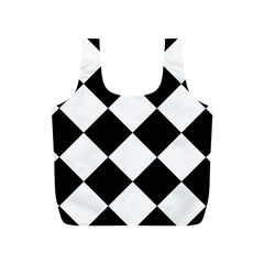 Harlequin Diamond Mosaic Tile Pattern Black White Reusable Bag (S)