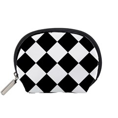Harlequin Diamond Mosaic Tile Pattern Black White Accessory Pouch (Small)