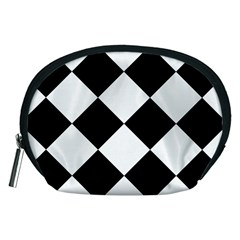 Harlequin Diamond Mosaic Tile Pattern Black White Accessory Pouch (Medium)