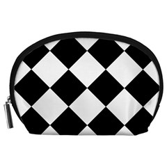 Harlequin Diamond Mosaic Tile Pattern Black White Accessory Pouch (Large)