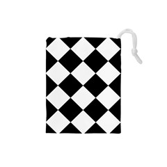 Harlequin Diamond Mosaic Tile Pattern Black White Drawstring Pouch (Small)