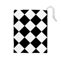 Harlequin Diamond Mosaic Tile Pattern Black White Drawstring Pouch (Large)
