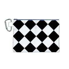 Harlequin Diamond Mosaic Tile Pattern Black White Canvas Cosmetic Bag (medium)