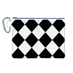 Harlequin Diamond Mosaic Tile Pattern Black White Canvas Cosmetic Bag (Large)