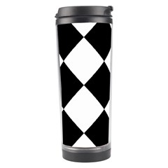 Harlequin Diamond Mosaic Tile Pattern Black White Travel Tumbler