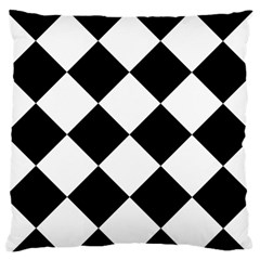 Harlequin Diamond Mosaic Tile Pattern Black White Standard Flano Cushion Case (Two Sides)