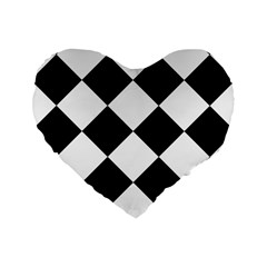 Harlequin Diamond Mosaic Tile Pattern Black White 16  Premium Flano Heart Shape Cushion