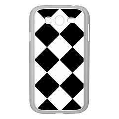 Harlequin Diamond Mosaic Tile Pattern Black White Samsung Galaxy Grand DUOS I9082 Case (White)