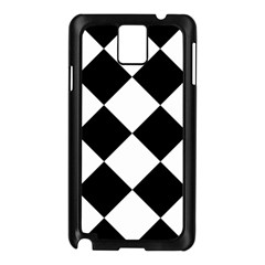 Harlequin Diamond Mosaic Tile Pattern Black White Samsung Galaxy Note 3 N9005 Case (Black)
