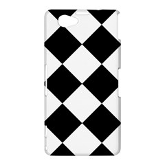 Harlequin Diamond Mosaic Tile Pattern Black White Sony Xperia Z1 Compact Hardshell Case
