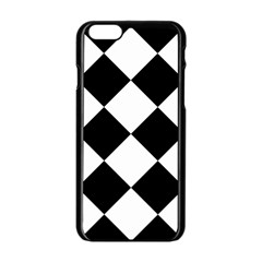 Harlequin Diamond Mosaic Tile Pattern Black White Apple iPhone 6 Black Enamel Case