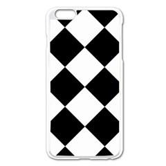 Harlequin Diamond Mosaic Tile Pattern Black White Apple iPhone 6 Plus Enamel White Case