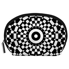 Checkered Black White Tile Mosaic Pattern Accessory Pouch (Large)
