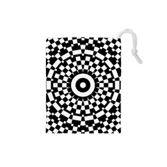 Checkered Black White Tile Mosaic Pattern Drawstring Pouch (Small)