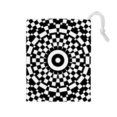 Checkered Black White Tile Mosaic Pattern Drawstring Pouch (Large)