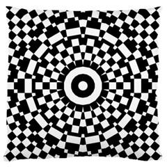 Checkered Black White Tile Mosaic Pattern Large Flano Cushion Case (Two Sides)