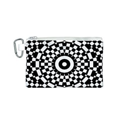 Checkered Black White Tile Mosaic Pattern Canvas Cosmetic Bag (Small)