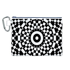 Checkered Black White Tile Mosaic Pattern Canvas Cosmetic Bag (Large)