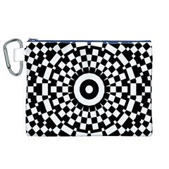 Checkered Black White Tile Mosaic Pattern Canvas Cosmetic Bag (XL)