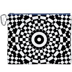Checkered Black White Tile Mosaic Pattern Canvas Cosmetic Bag (XXXL)