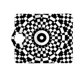 Checkered Black White Tile Mosaic Pattern Kindle Fire HDX 8.9  Flip 360 Case