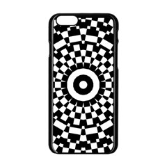 Checkered Black White Tile Mosaic Pattern Apple iPhone 6 Black Enamel Case