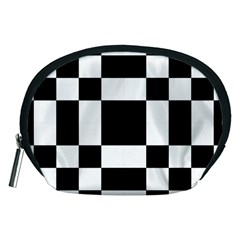 Checkered Mosaic Tile Pattern Black White  Accessory Pouch (Medium)