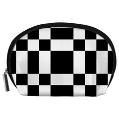 Checkered Mosaic Tile Pattern Black White  Accessory Pouch (Large)