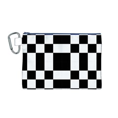 Checkered Mosaic Tile Pattern Black White  Canvas Cosmetic Bag (Medium)