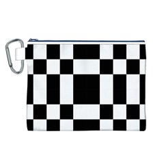 Checkered Mosaic Tile Pattern Black White  Canvas Cosmetic Bag (Large)