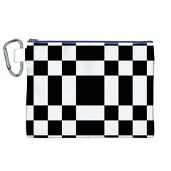Checkered Mosaic Tile Pattern Black White  Canvas Cosmetic Bag (XL)