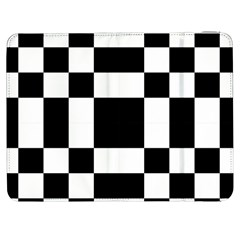 Modified Checkered Mosaic Tile Pattern Black White  Samsung Galaxy Tab 7  P1000 Flip Case