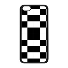 Modified Checkered Mosaic Tile Pattern Black White  Apple iPhone 5C Seamless Case (Black)