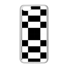 Modified Checkered Mosaic Tile Pattern Black White  Apple iPhone 5C Seamless Case (White)