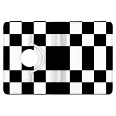 Modified Checkered Mosaic Tile Pattern Black White  Kindle Fire HDX Flip 360 Case