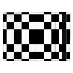 Modified Checkered Mosaic Tile Pattern Black White  Samsung Galaxy Tab Pro 12.2  Flip Case