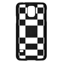 Modified Checkered Mosaic Tile Pattern Black White  Samsung Galaxy S5 Case (Black)